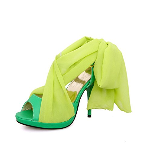 VogueZone009 Girls Open Peep Toe High Heel Stiletto PU Soft Material Solid Sandals with Bandage Green oIVjasEvvm