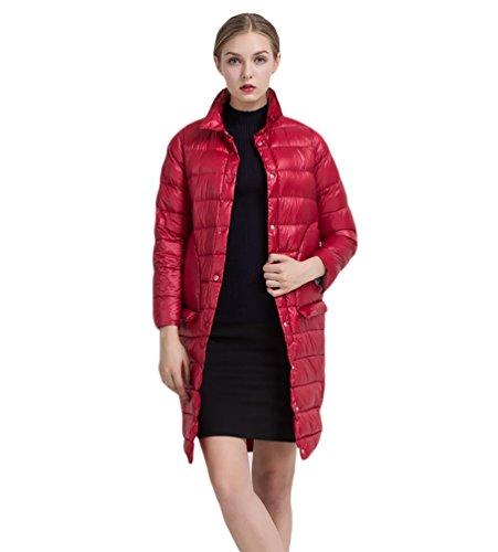 Pour Rouge Doudoune Zippé Légère Manteau Femme Chengyang Chaud Veste Hiver Longue Blouson qUwF7