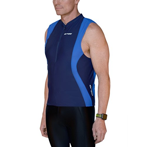 (ORCA Men's Tri Singlet with Pockets M434 (Blue/Blue Stretch, Large))