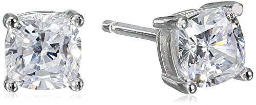 Platinum Plated Sterling Cushion Cut Zirconia Earrings