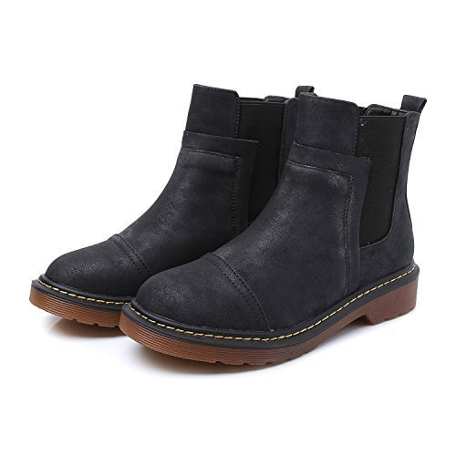 Smilun Girl¡¯s Ankle Combat Chelsea Boots Mid Heel Nubuck Leather Derby Classic Boot Girl Black US6.5