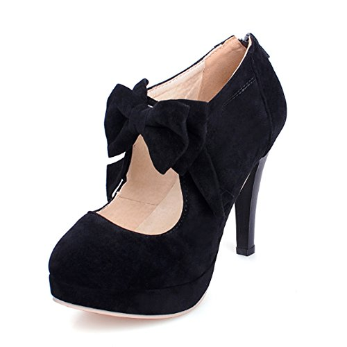 Qiangsoo Women Sexy High Heel Pumps Zip up Ankle Boots Black 6.5