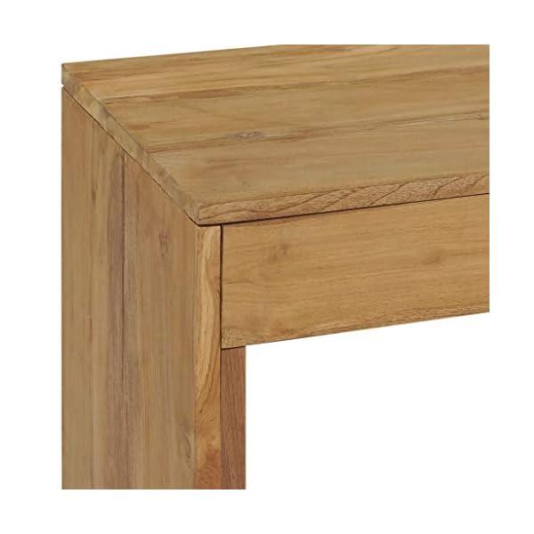 vidaXL Bois de Teck Massif Table Console Table de Couloir Table d'Entrée avec 2 Tiroirs Meuble de Salon Salle de Séjour…