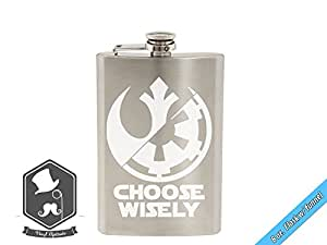 Star Wars Inspired Empire Rebel Choose Wisely Logo Symbol Art 8 OZ Hand-made Etched Stainless Steel Hip Flask with Funnel