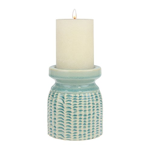 Stonebriar Decorative Textured Pale Ocean Ceramic Pillar Candle Holder, Coastal Home Decor Accents, Beach Inspired Design for the Living Room, Bathroom, or Bedroom of your Seaside Cottage Decor -