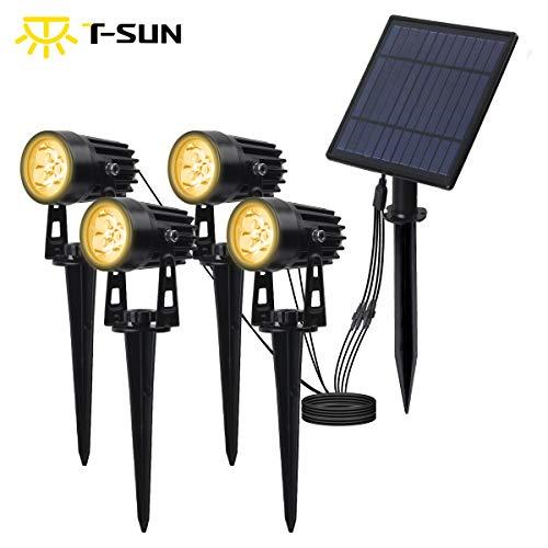 T-SUN 5W Solar Spotlights with 4 Headlights, LED Spot Lights IP65 Waterproof Outdoor Security Wall Lights for Garden, Yard, Driveway, Pool Area(3000K-Warm White)