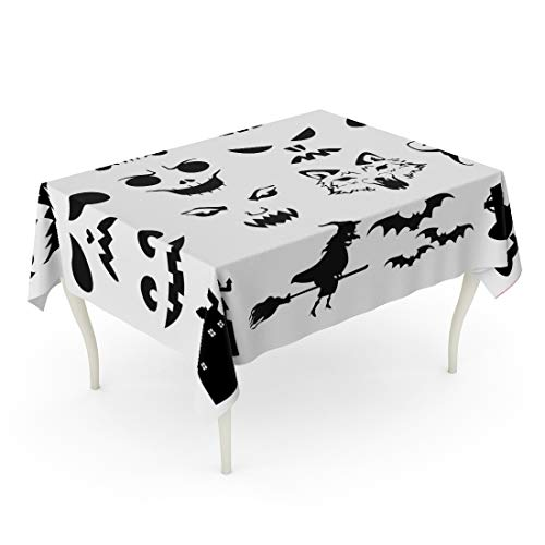 Tarolo Rectangle Tablecloth 60 x 102 Inch Face of Halloween Pumpkins Carved Silhouettes Stencil Cat Creepy Bats Black Table Cloth]()