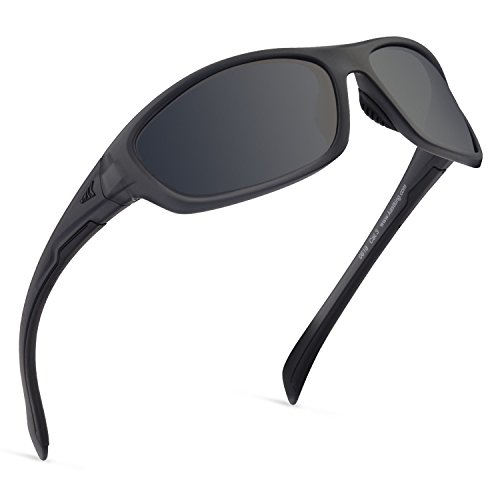 Kastking Hiwassee Polarized Sport Sunglasses, Matt Smoke Crystal Frame,Smoke Lens