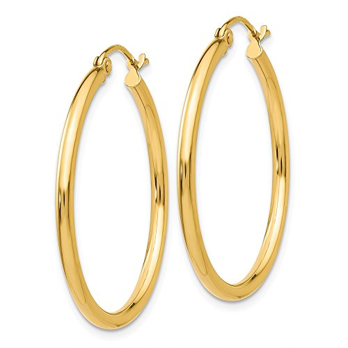 """Designs by Nathan, Classic 14K Yellow Gold Tube Hoop Earrings: Seamless, Hollow, and Lightweight (Regular 2mm x 30mm (about 1 3/16"""")) 14k Yellow Gold X Design"""