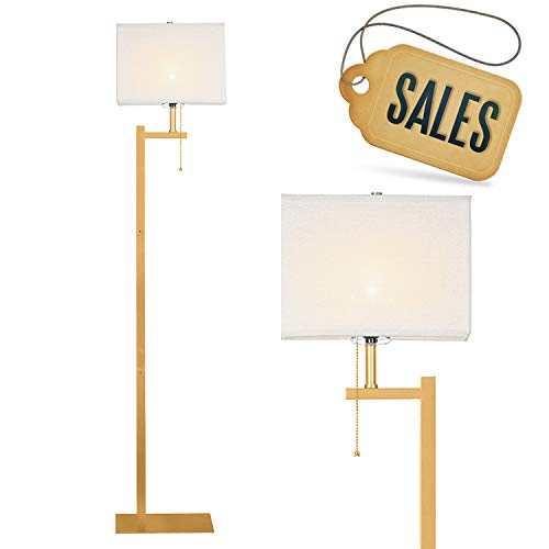 (WAYKING Floor Lamp, Modern Standing Lamp with Gold Metal Base, White Shade, Pull-Chain On/Off Switch)