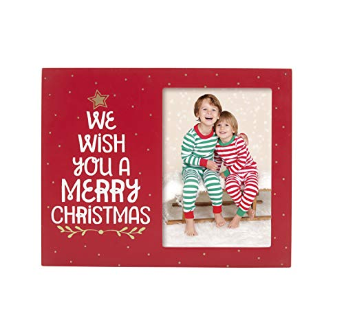 Pearhead We Wish You A Merry Christmas Holiday Picture Frame, Red