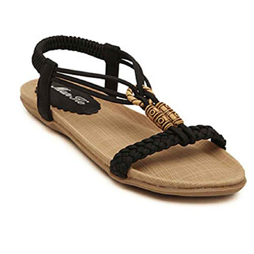 Women Weaving Sandals Roman Shoes T Starp Open Toe Flat Shoes Summer Beach Comfort Shoes by Lowprofile Black