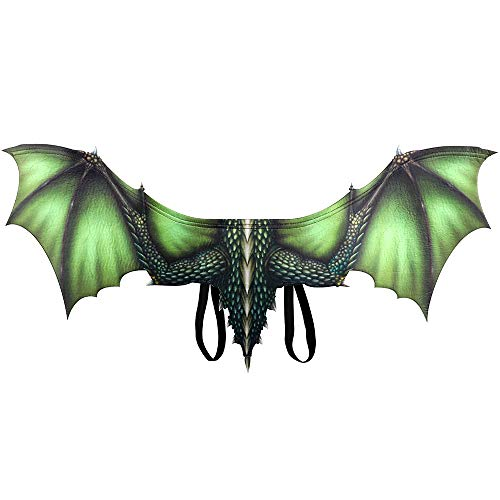 BaronHong Halloween Mardi Gras Dragon Costume Cosplay Wings for Adult(Green,M)