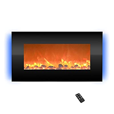 "Home Electric Fireplace- Wall Mounted with 13 Backlight Colors Adjustable Heat and Remote Control-31 inch by Northwest (Black), 31"", Midnight"