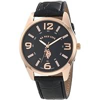 Asociación de Estados Unidos de Polo. Reloj USC50076 Classic Gold con tono dorado y correa negra para hombres