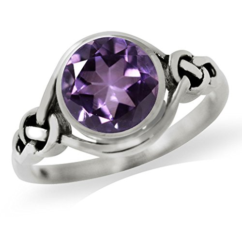 Amethyst Celtic Knot Ring (1.66ct. Natural Amethyst 925 Sterling Silver Celtic Knot Solitaire Ring Size 7)