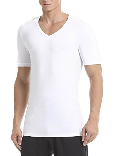 Deep Undershirt V-neck (David Archy Men's 3 Pack Micro Modal Underwear Soft Comfy Deep V-Neck Undershirts(White,XL))