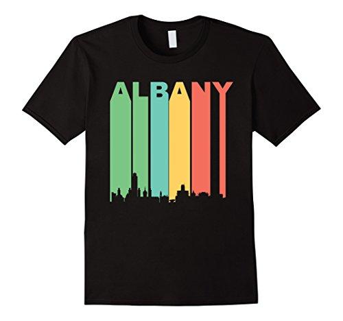 Men's Retro Albany New York Cityscape Downtown Skyline T-Shirt Medium Black - Albany New York