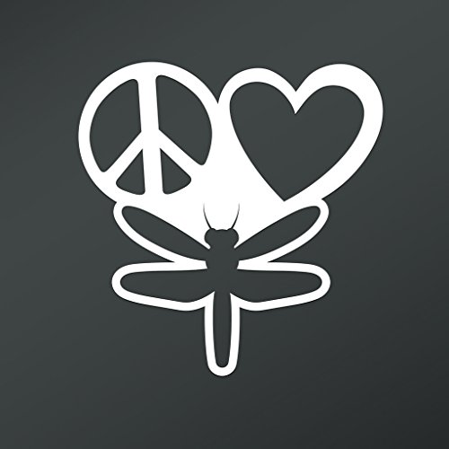 Dragonfly Costume Make (Peace Love Dragonflies Vinyl Decal Sticker | Cars Trucks Vans Walls Laptops Cups | White | 5.5 X 5.3 Inch | KCD1685)