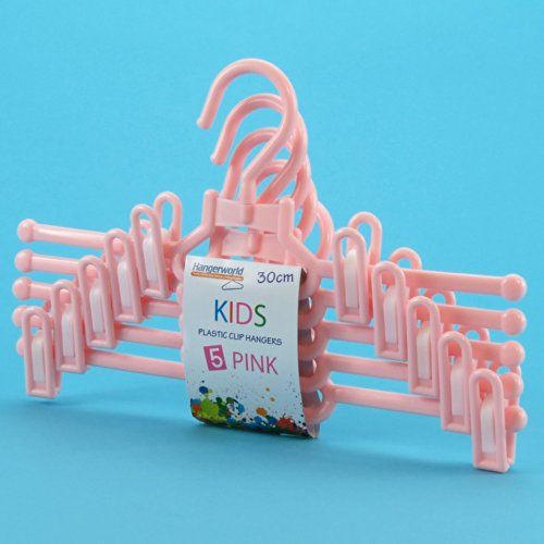 Hangerworld Pack of 5 Pink Plastic Coat Hangers with Pant/Skirt Clips - For Baby & Toddler Clothes - 11.8 (5 Pack Plastic Hangers)