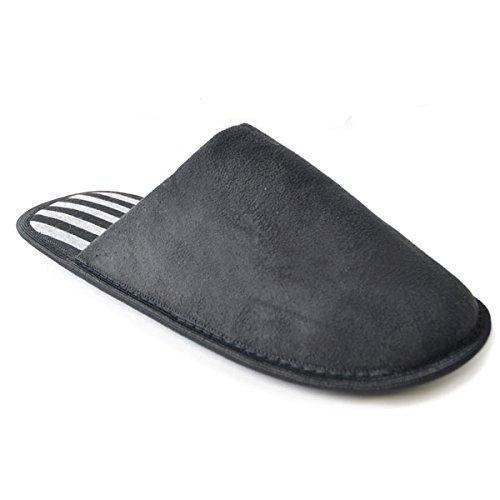SlumberzzZ Men's Faux Suede Inner Stripe Lined Mule Slippers, Black, Size UK 11/12