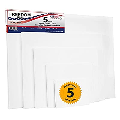 US Art Supply 8 x 10 inch Super Value Quality Acid Free Stretched Canvas 10-Pack - 3/4 Profile Primed Gesso (Super Value Pack of 10 Canvases)