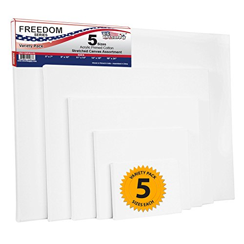 US Art Supply Professional Quality Stretched Canvas 12-ounce Primed Variety Pack Rectangular Assortment (18x24, 14x18, 11x14, 8x10, 5x7)