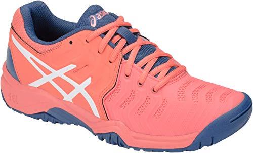 Junior Girl Casual Shoes - ASICS Gel-Resolution 7 GS Kid's Tennis Shoe, Papaya/White, 4.5 M US Big Kid