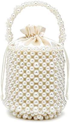 巾着付き女性手作りの高輝く人工パールビーズバッグイーブンバッグ用ハンドバッグバッグ 実用的