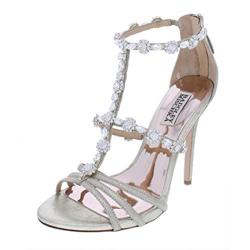Badgley Mischka Womens Mp3643 Leather Open Toe Bridal T-Strap, PLT Msd, Size 5.0