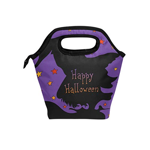 My Little Nest Insulated Cooler Tote Lunch Bag Happy Halloween Witch Laugh Silhouette Work Picnic Food Organizer Lunchbox for Women Men -
