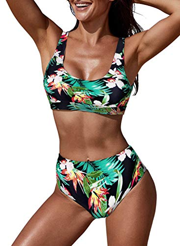 (Arainlo Bikini Swimsuit for Women Casual Summer Floral Print Padded Wire Free Push Up Sporty Ladies Swimsuit Green XXL)