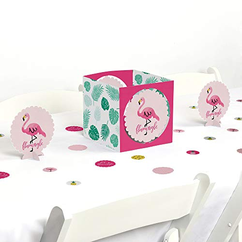 Big Dot of Happiness Pink Flamingo - Party Like a Pineapple - Tropical Summer Party Centerpiece & Table Decoration -