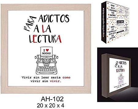 ROYMAR Caja luz, para Adictos a la Lectura Cajas Decorativas Muebles Pegatinas Decoración del hogar Unisex Adulto, Blanco con Texto del Mensaje en Rojo y Negro, 20x20cm: Amazon.es: Hogar