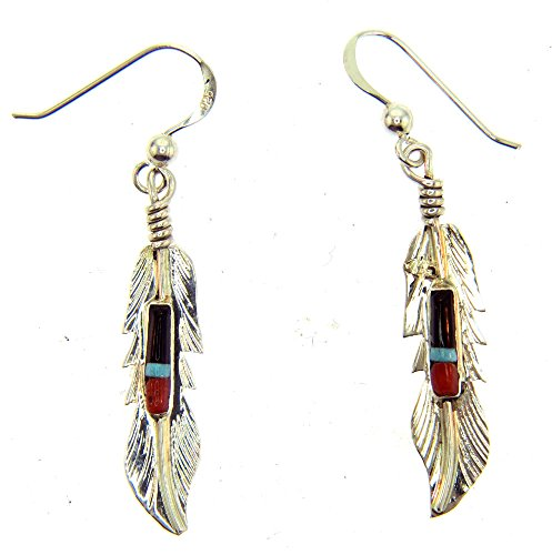 - USA made by Navajo Artist F. Barney Beautiful! Sterling-silver Feather earrings with inlayed Natural Treated stones