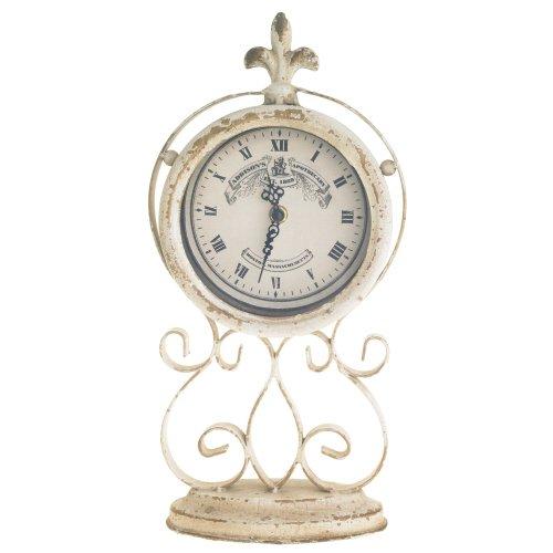 Fleur de Lys Antiqued White & Gold Mantel Clock in Metal Stand, 15.5''