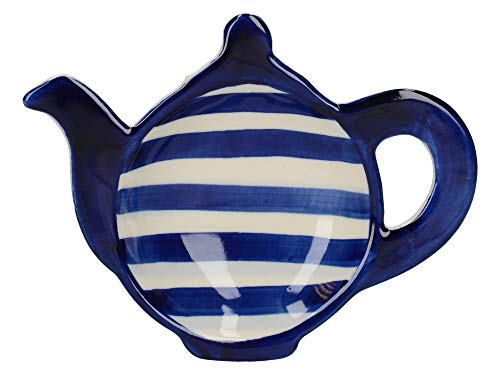 London Pottery Out of the Blue Tea Bag Dish, Stoneware, Blue Bands Patterned Teapot Design, Navy Blue, 14.5 x 11 - Pottery Motif