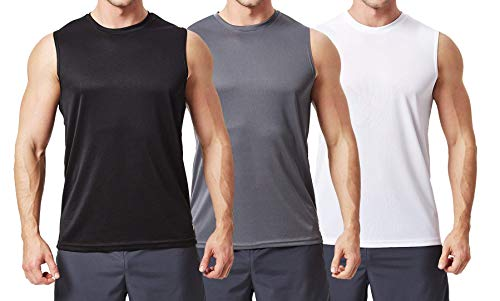 97047444878ed0 TEXFIT Men's 3-Pack Quick Dry Sleeveless Shirts, Workout Muscle Tank Tops  (3pcs Set) … (Black/Dark Grey/White, X-Large)