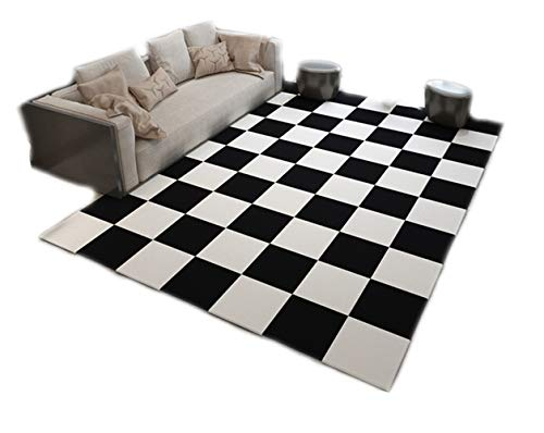 Creative ingenuity Simple Modern Black and White Collection Flannel Area Rugs for Bedside Bedroom Living Room,6'6