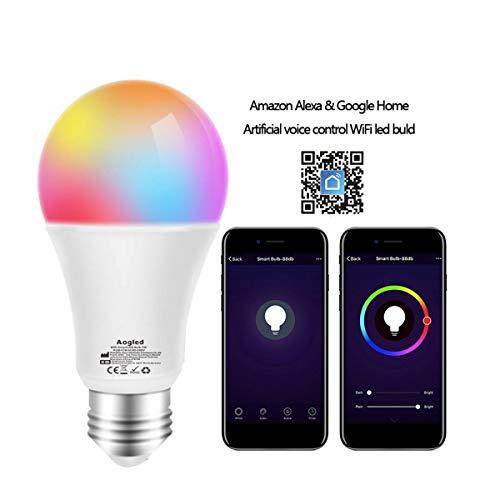 WiFi Smart E27 Led Lampe 9W 240v Aogled,60w Halogen Glühbirnen Equivalent,Dimmbare RGB WiFi Birne Kompatibel mit Alexa,Google Home,IFTTT,Kein Hub Required,2.4GHz Wi-Fi A19 E27 2700K 6500K