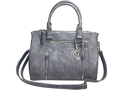 ZzFab Multi Zippers Fashion Locking Faux Leather Concealed Carry Gun Shoulder Bag Grey
