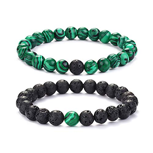 "KAVANI Gem Semi Precious Gemstone 8mm Round Beads Stretch Bracelet Green Malachite & Black Lava Rock Stone 8.3"" (Round Bead Stretch Bracelet)"