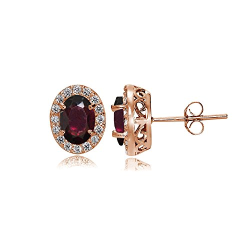 Rose Gold Flashed Sterling Silver Garnet and Cubic Zirconia Accents Oval Halo Stud Earrings