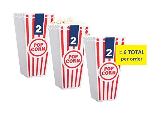 Individual Popcorn Tubs for Movie Nights, Set of 6