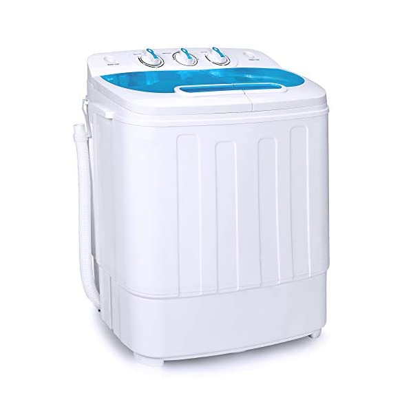 Best Choice Products Portable Compact Mini Twin Tub Laundry Washing Machine and Spin Cycle Dryer w/Hose, 13lbs Load Capacity, Built-In Drain – White/Gray