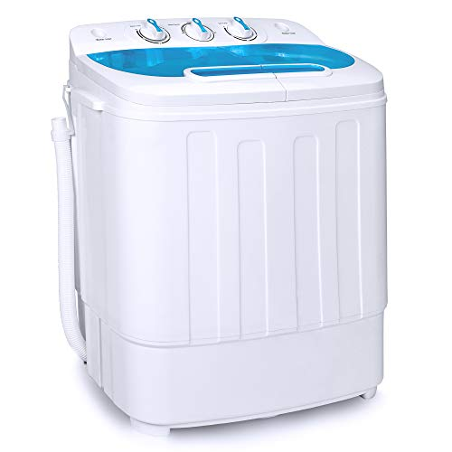Best Choice Products Portable Compact Mini Twin Tub Laundry Washing Machine and Spin Cycle Dryer w/Hose, 13lbs Load Capacity, Built-In Drain - White/Light Blue