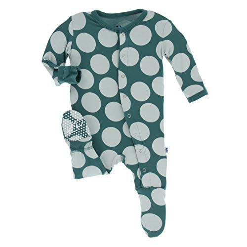 Kickee Pants Little Girls Print Footie with Snaps - Ivy Mod Dot, ()