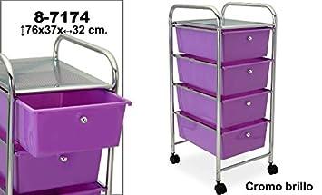 DonRegaloWeb - Carro de baño de 4 cajones de pvc en color violeta y estructura de metal. Medidas: 76x37x32cm: Amazon.es: Hogar