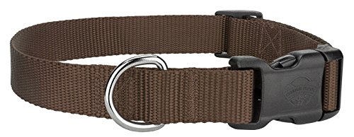 Scott - Adjustable Rib Nylon Brown Dog Collar Size: Large 12