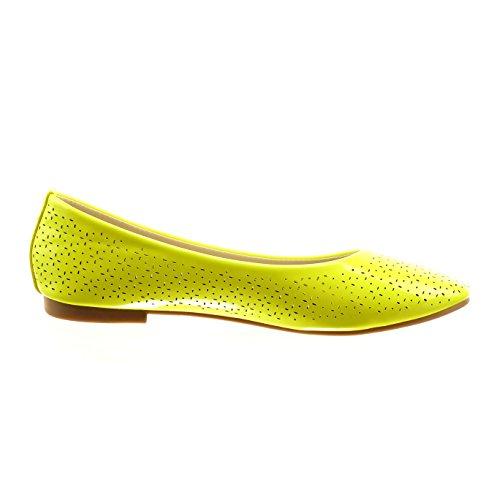 Sopily - Chaussure Mode Ballerine Cheville femmes brillant perforée Talon bloc 1 CM - Intérieur synthétique - Jaune